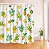 Cartoon Decor Shower Curtains By KOTOM Cactus Tropical Fruit Pricky Succulent Pattern Bath Curtains, 72X72 Inches