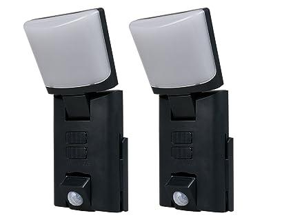Juego de 2 portátiles, negra LED Outdoor Noche luces/Orientación luces con detector de