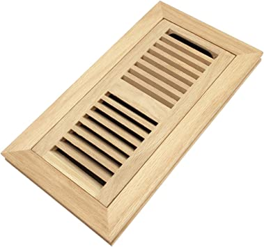 White Oak Wood Flush Mount Floor Register Vent Cover 4x10 Inch Duct Opening 3 4 Inch Thickness With Damper Unfinished Amazon Com