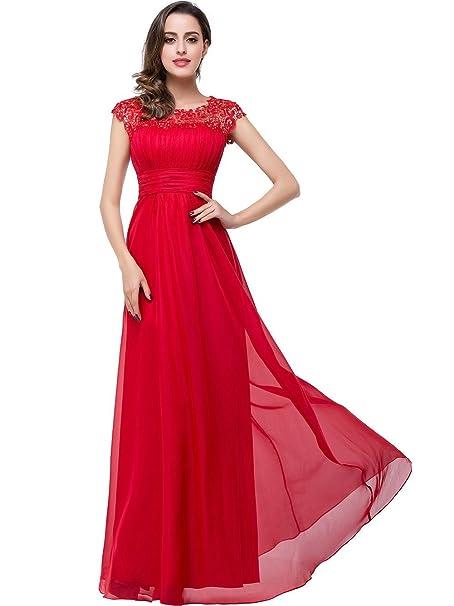 Babyonline vestido de fiesta de noche, elegante, sin mangas, escote en barco rojo