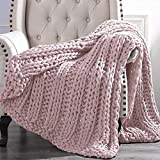 Amrapur Overseas Luxury Chunky Knit Acrylic Bed Sofa Throw, 50x60 inches, Rose