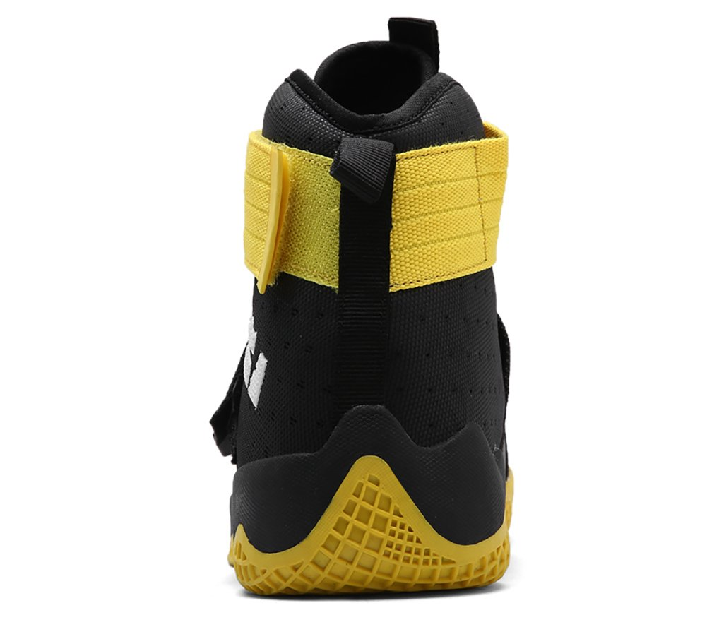 No.66 Town Couple Men's Women's High Top Running Shoes Fashion Sneaker,Basketball Shoes B0785KFVDV (US)6(women's)|Black Yellow