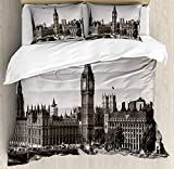 London 4 Pieces Bedding Set Twin, Westminster Big Ben Bridge Nostalgic Image British Antique Architecture, Duvet Cover Set Decorative Bedspread for Childrens/Kids/Teens/Adults, Sepia White