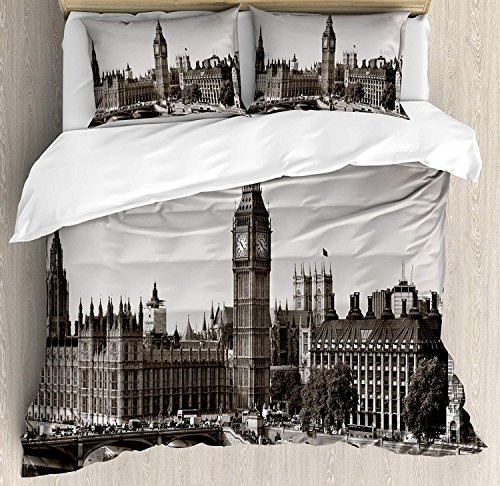 London 4 Pieces Bedding Set Twin, Westminster Big Ben Bridge Nostalgic Image British Antique Architecture, Duvet Cover Set Decorative Bedspread for Childrens/Kids/Teens/Adults, Sepia White by TweetyBed
