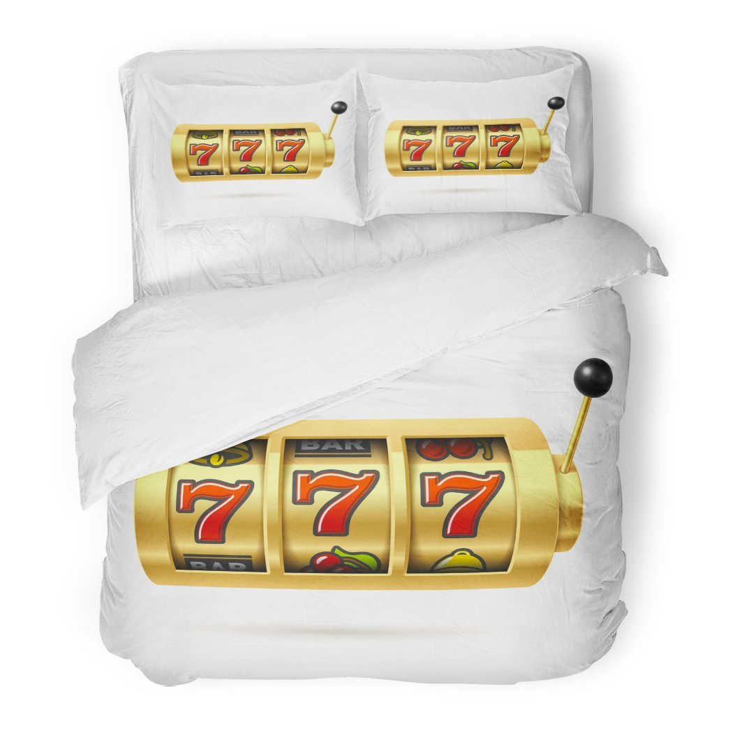 SanChic Duvet Cover Set Casino Slot Machine with Lucky Sevens Jackpot 777 Decorative Bedding Set with 2 Pillow Shams King Size by SanChic
