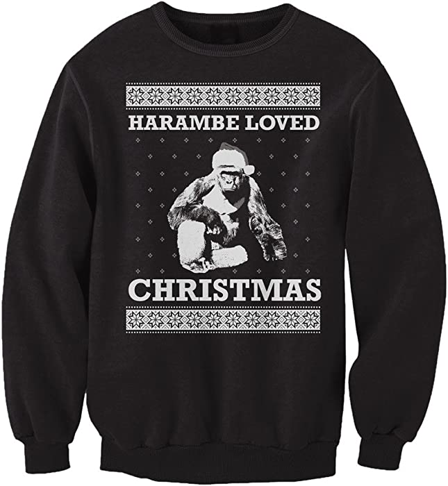 harambe loved christmas ugly sweater funny mens sweatshirt
