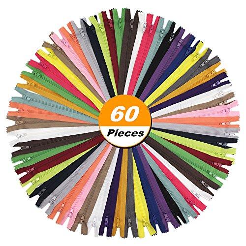 YaHoGa 60pcs 18 Inch (45cm) Nylon Coil Zippers for Tailor Sewing Crafts Nylon Zippers Bulk 20 Colors (3pcs per color) (18