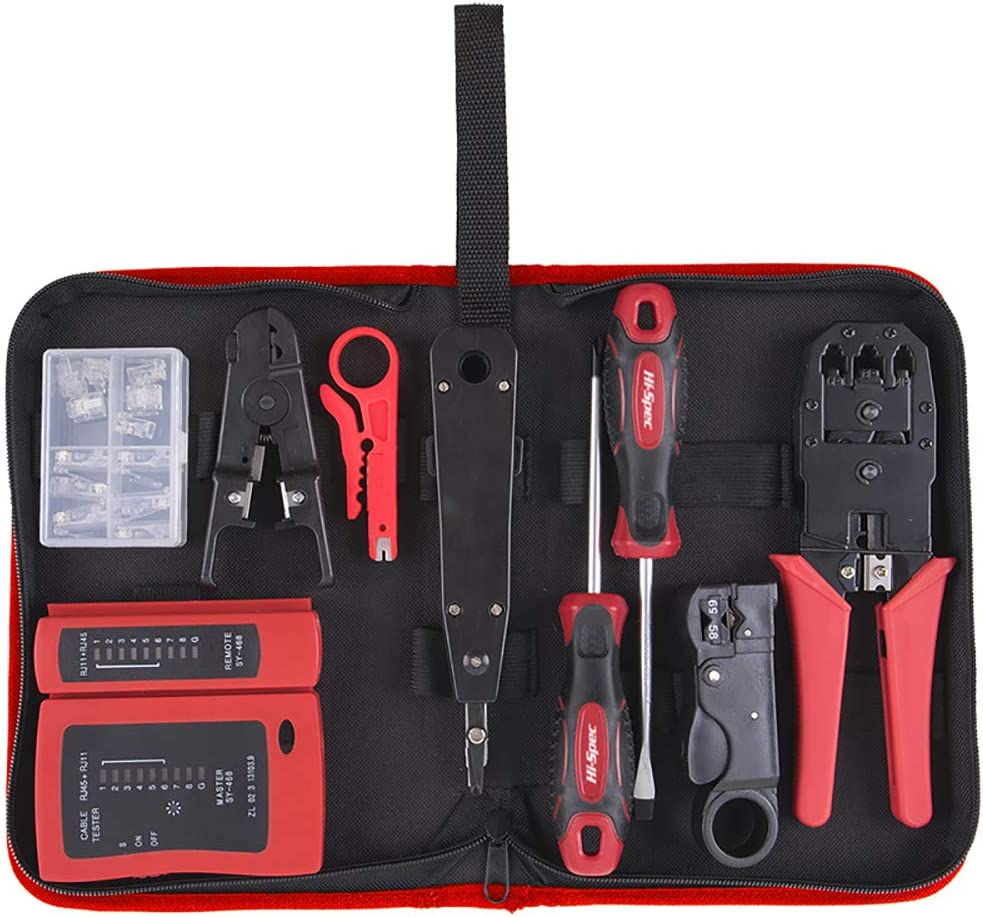 19 pcs Network Cable Testing /& Wiring Maintenance Repair Tool Kit Cutters /& Strippers Remote LED Continuity Test Box Crimper /& Krone Punch Down Tool in a Zipper Case Screwdrivers