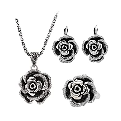 b73a077ad PSEZY Vintage Wedding Jewelry Sets Plating Silver Turkey Crystal Roses Ring  Earring Pendant Necklace 7.0
