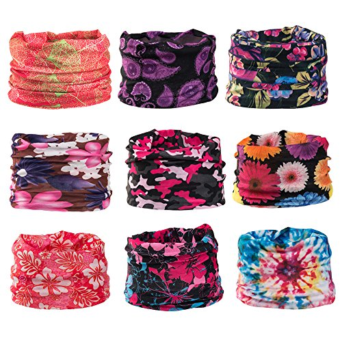 Wide Headbands Headwear Head Wrap Sport Sweatband for Men and Women,Workout,Yoga,12-in-1 12PCS/9PCS/6PCS Multifunction Magic (Half Good Half Bad Costumes)