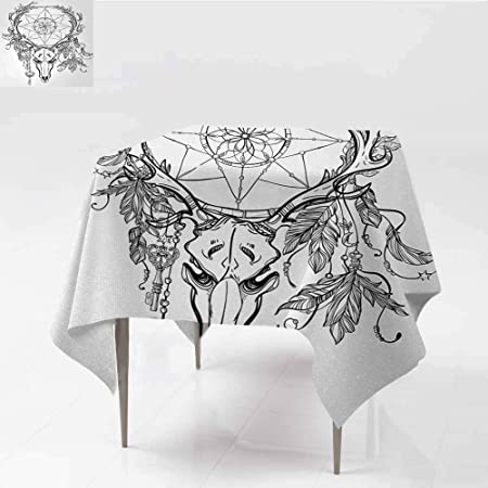 Mantel lavable, diseño de cabeza de toro de tatuaje con plumas de ...