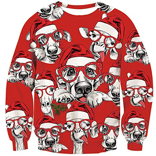TUONROAD Men's Funny Crew Neck Ugly Christmas Sweatshirt Cute Puppy Dog Sheep with White Santa Hat Polk Dot Red Glasses Matching His and Hers Holiday Sweaters Hilarious Xmas Pullover Jumper