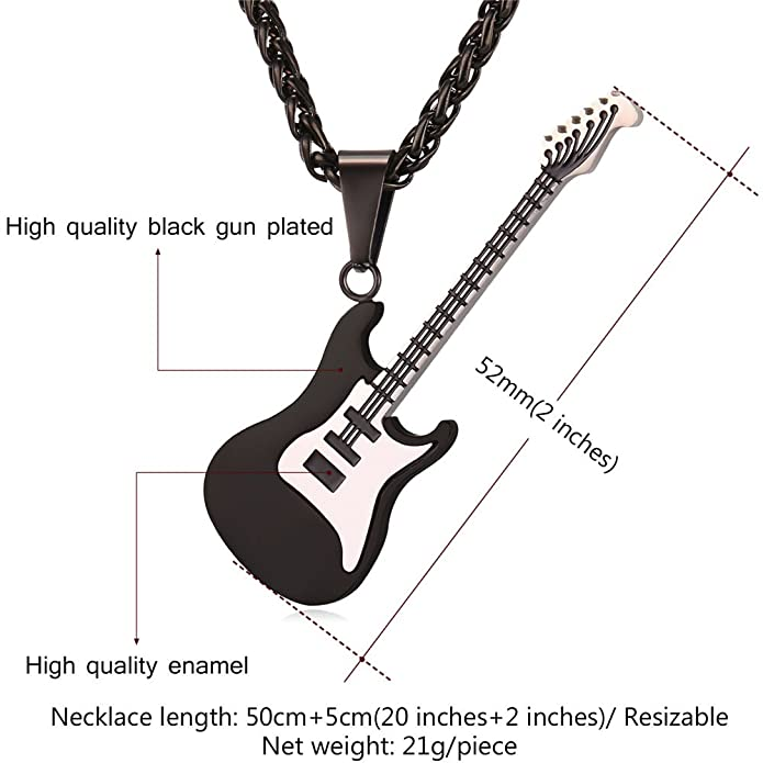 062b3842b Amazon.com: U7 Men Women Music Jewelry Gift Ion-Plating Black Metal  Stainless Steel R&B Rock Electric Bass Guitar Pendant Necklace, Chain 22