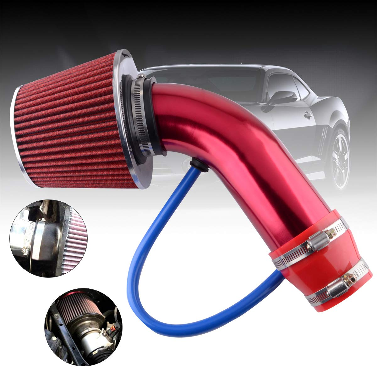ESPEEDER 3High Performance Cold Air Intake Kit Universal Short Ram Air Intake System with Car Air Filter and Aluminum Air Intake Tube Red
