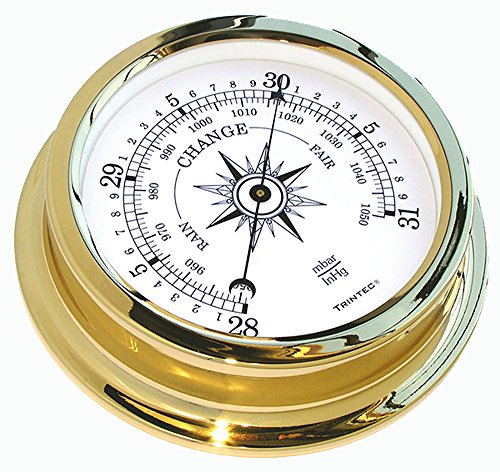Shore Station Clock - Trintec Marine Solaris Aneroid Barometer Solid Brass Marine Instrument SOL-04 On shore or Off shore