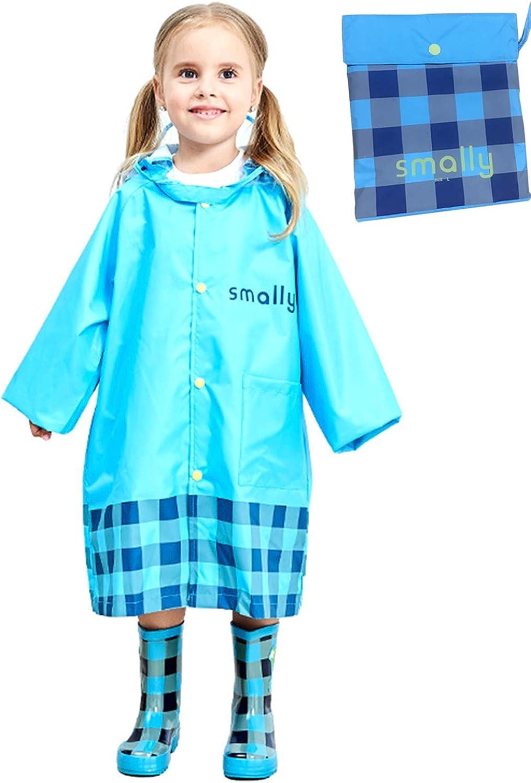 Portable Kids Children Rain Poncho,Hoodie Zipper Raincoat Cute Cartoon for Boy Girl