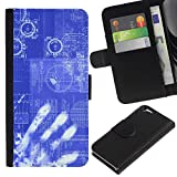 Planetar® Colorful Pattern Flip Wallet Leather Holster Protective Skin Case Cover For Apple (4.7 inches!!!) iPhone 6 / 6S ( Computing Code Technology It Robot Ai )