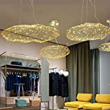 Injuicy Lighting Modern Metal LED Clouds Pendant Hanging Lights Shades Dining Room Ceiling Lamps Fixtures for Girls Children's Rooms Living Room Bedrooms Decor (Dia. 31.5 Inch Gold & Warm Light)