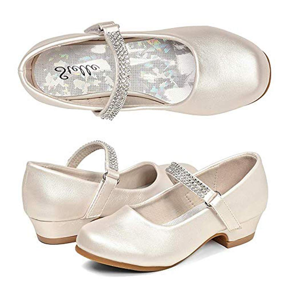 STELLE Girls Mary Jane Shoes Low Heel Party Dress Shoes for Kids (13ML, Champagne)