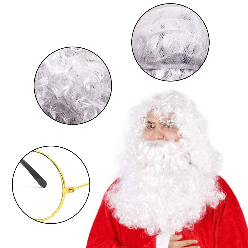 BigOtters Santa Costume Accessory, 3pcs Christmas Set with Glasses, Deluxe Long White Santa Claus Beard and Wig for Men Women Cosplay Dress up Props