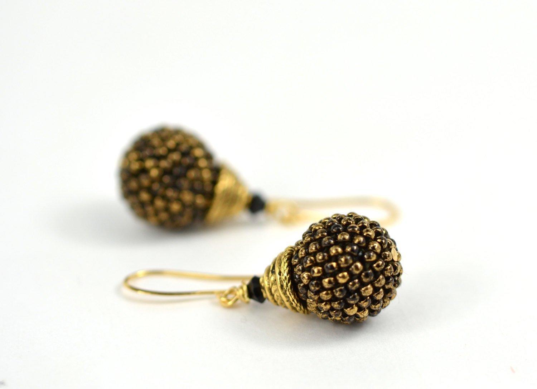 Marble Earrings Modern gold earrings Black earrings Black marble hook earrings Black gold earrings