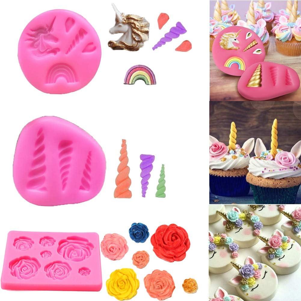 Silikonform Einhorn 4tlg Topper Cupcake Tortendekor Fondant Schokolade Fimo