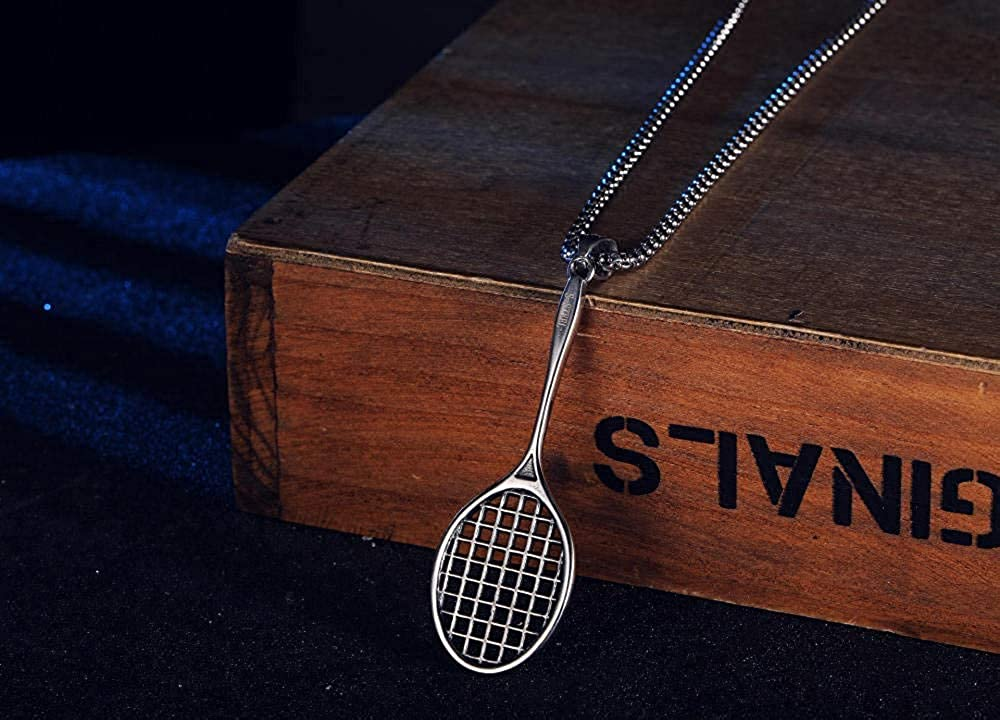 HAMANY Necklace,Europe and The United States Retro Pendant Titanium Steel Tennis Racket Pendant Creative Student Gift Pendant Couple Necklace