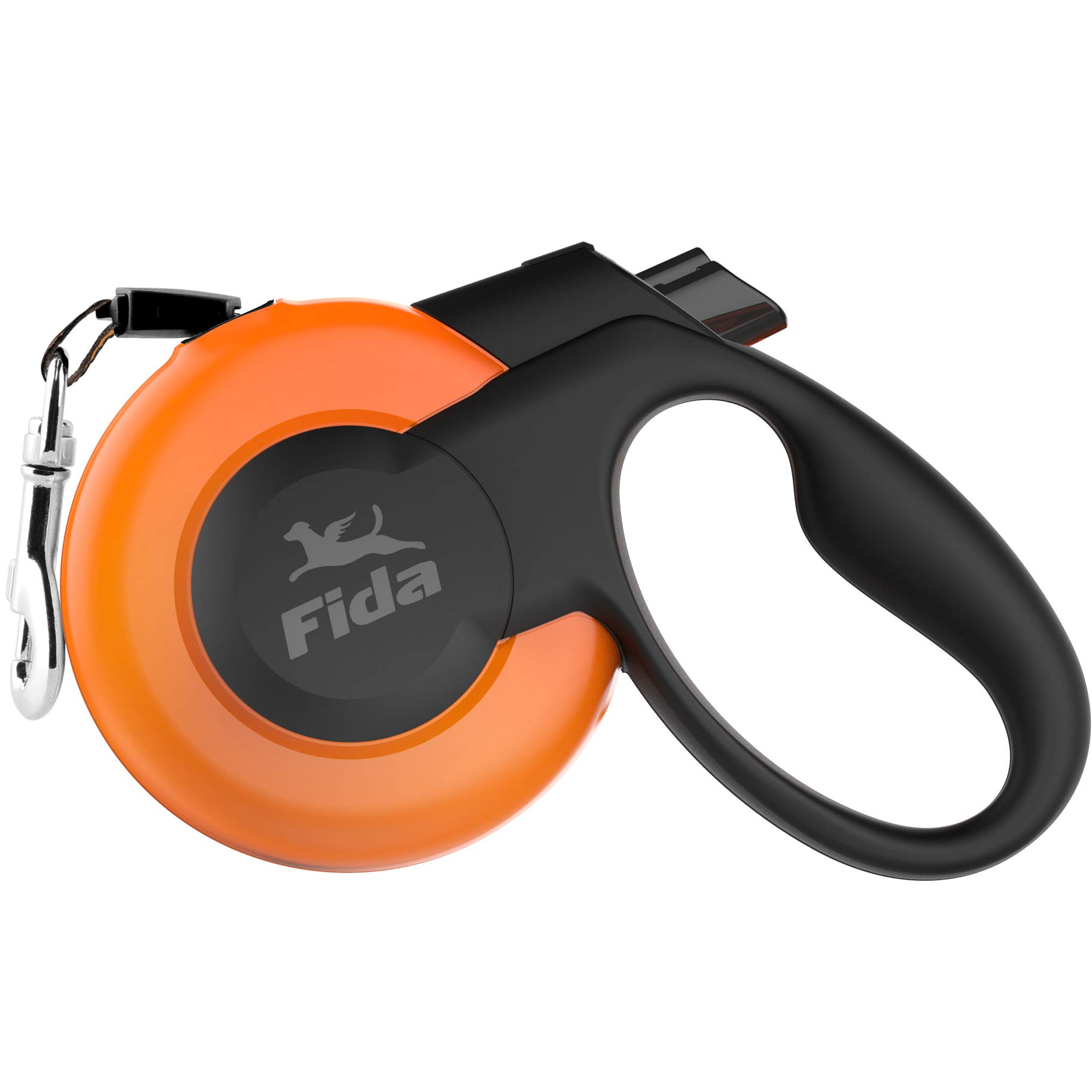 Fida Retractable Dog Leash, Heavy Duty Retracting Pet Leash with 16 ft Strong Nylon Tape/Ribbon for Large Breed up to 110 lbs, Tangle Free, One-Hand Brake, Orange (Mars Series) by Fida