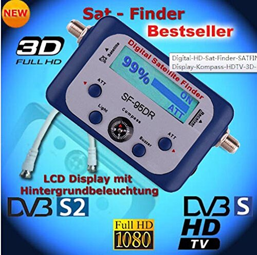 SaferCCTV(TM) SF95DR Digital Satellite Signal Meter Finder for Dish Network Directv Dish with Compass FTA DVB S2 DVB S by SaferCCTV