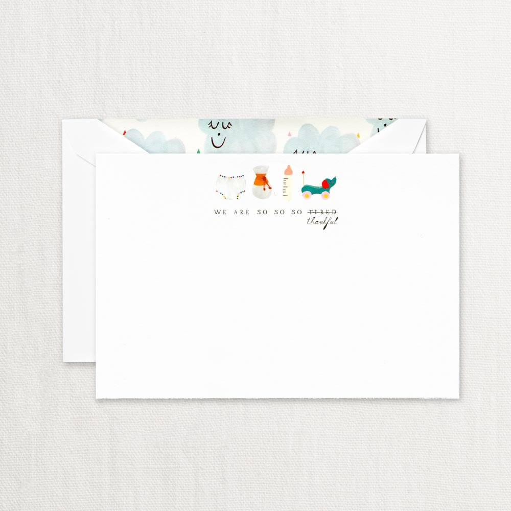 Crane & Co. We are So So (Tired) Thankful Cards with Lined Envelopes- Pack of 20 by Crane & Co.