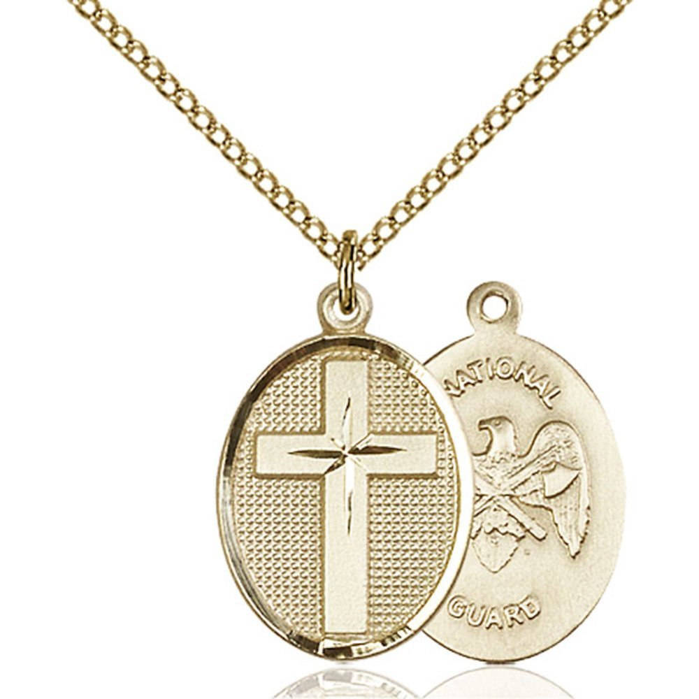 Gold Filled Cross / National Guard Pendant 7/8 x 1/2 inches with Gold Filled Lite Curb Chain by Bonyak Jewelry Saint Medal Collection