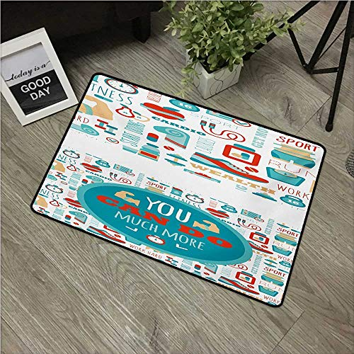 Anzhutwelve Fitness,Carpet flooring You Can Do Much More Encouraging Phrase with Gym Icons Cardio Sport Wellness W 16″ x L 24″ Indoor Floor Mats Bedroom Decor Teal White Red