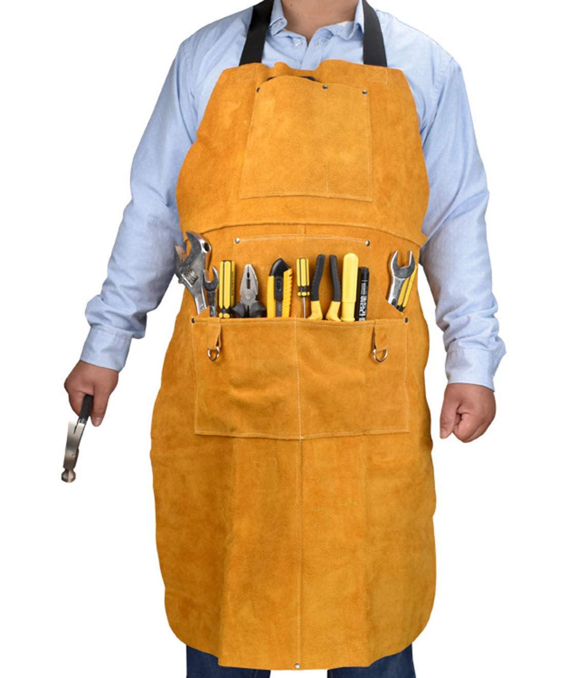 Multiple Pockets Woodworking Apron Cowhide Leather Welding High Temperature Safety Wear Apron Gardening Apron with Tool Pockets by CPTDCL