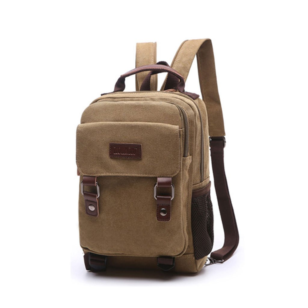 3670c8998f92 Amazon.com  Small Backpack Women s Leisure Waterproof Canvas Bag Shoulder  Dual-use Oblique Back Multi-purpose Chest Bag Tide Men s Mini Shoulder Bag  (Color ...