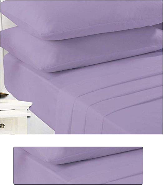 Easycare /& Long Lasting Polly Cotton Fitted Sheet In Lilac Colour Size Double