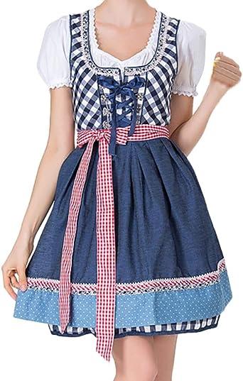 FRAUIT damski fartuch na Oktoberfest Dirndl kostium Bayerischer służbowa dziewczynka karo sukienka zestaw Niemcy tradycyjne ubranie do kolan festiwal sukienka Halloween ubranie S-2XL: Odzież