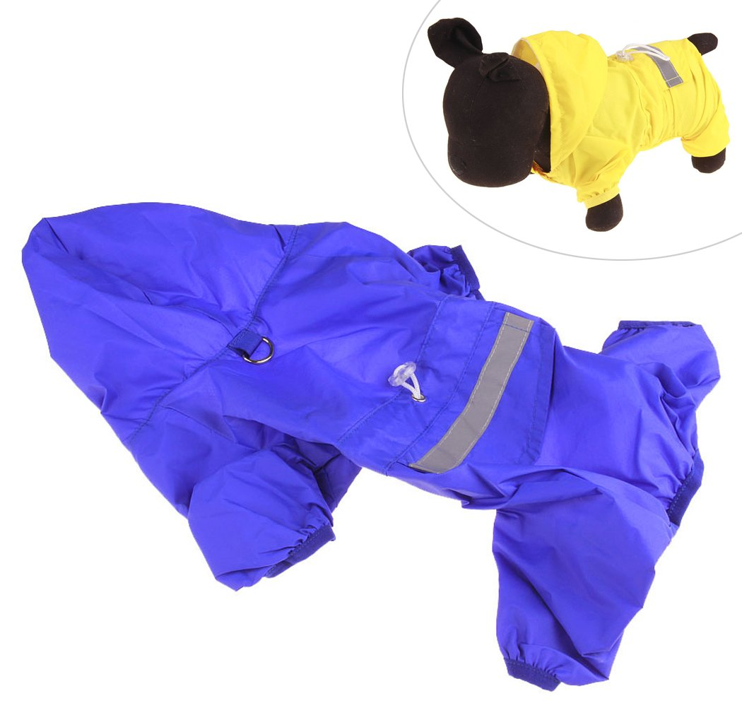 Xiaoyu Adjustable Pet Dog Waterproof Jumpsuit Raincoat Jacket with Safe Reflective Strips, Blue, S