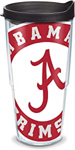 Tervis 1084703 Alabama Crimson Tide Colossal Tumbler with Wrap and Black Lid 24oz, Clear