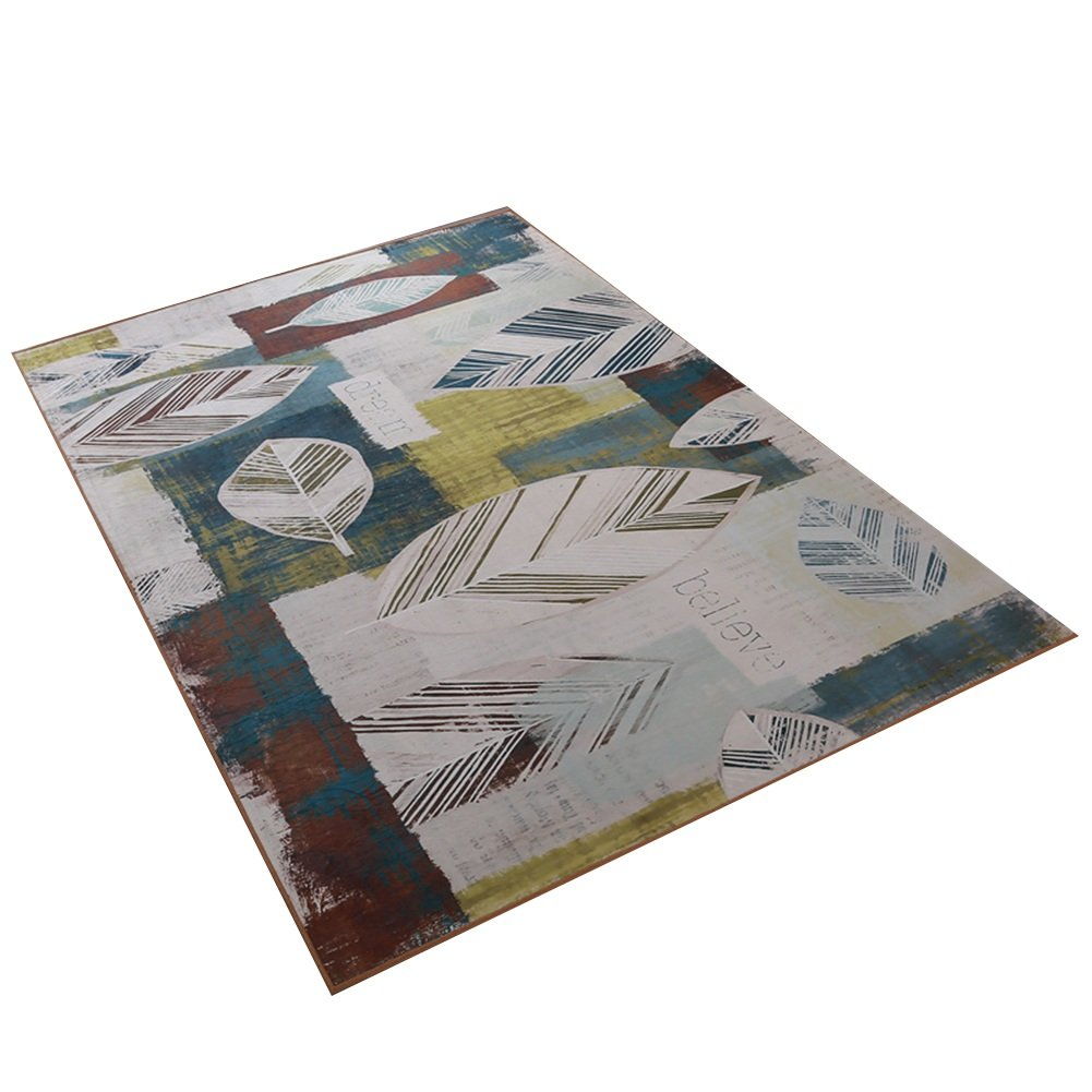 QFF 葉模様の敷物、牧歌的なスタイル明るい色の居間ソファーベッドルームホールティーテーブルフロアマットハンドルしやすく洗える| 120140センチメートル ソファ側 (サイズ さいず : 140 * 200CM) 140*200CM  B07FL949PJ