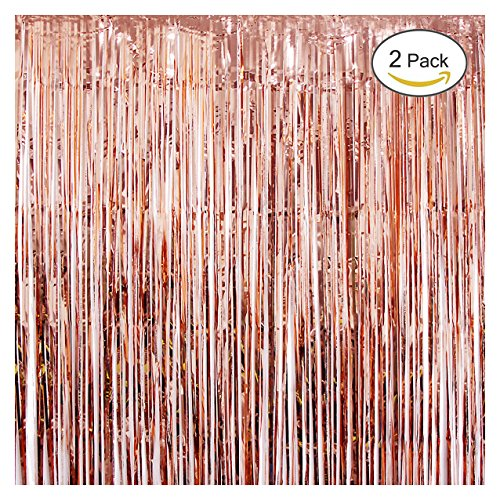 UTOPP 2 Pack Rose Gold Foil Fringe Curtains