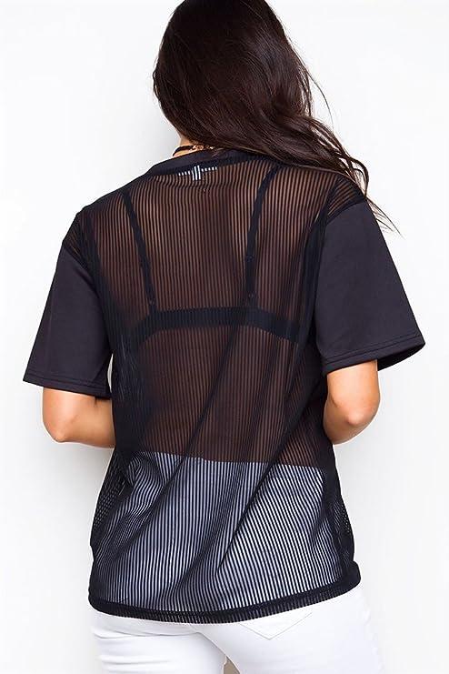 Camisetas Mujer Manga Corta Basicas Negras Transparentes Fiesta Tops Blusa Elegantes Cuello Redondo Anchas Casual Moda Señoras T Shirt Blusones Camisas: ...