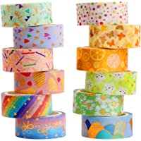 YUBX Washi Tape, 12 Rolls Masking Tape Decorative Gold Foil Print for Arts and Crafts, Scrapbooking, Bullet, Journal…