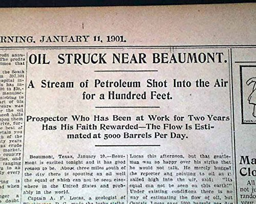 Great SPINDLETOP Gusher Beaumont TX Texas Oil Discovery 1901 Newspaper THE HOUSTON DAILY POST, Texas, January 11, 1901 - Oil Gusher
