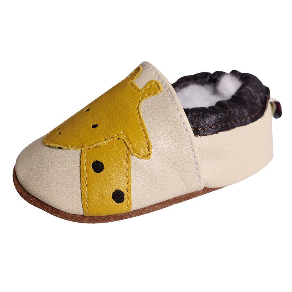 """Amurleopard Baby Soft Sole Leather Crib Shoes Infant Toddler First Walking Prewalker Beetle 0-6 Months 4.5"""" Amur Leopard AMURMYSLLJ011/SK"""