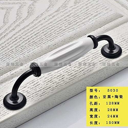 Cabinet Hardware 1pcs Door Knobs Drawer Cabinet Cupboard Wardrobe Pull Door Handle and Knobs Furniture Hardware Pull Dumb Black and White - (Color: 5030 CC128mm)
