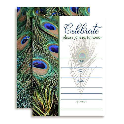 Amanda Creation Peacock Feathers Fill in Party Invitations, Set of 20 Including envelopes