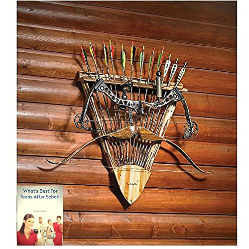 Wall Mounted Bow and Arrow Storage Rack , Handcrafted Archery Wall Rack Holder , Wooden Traditional Handmade , Archery Gear Wall-mounted Holds 12 Arro…