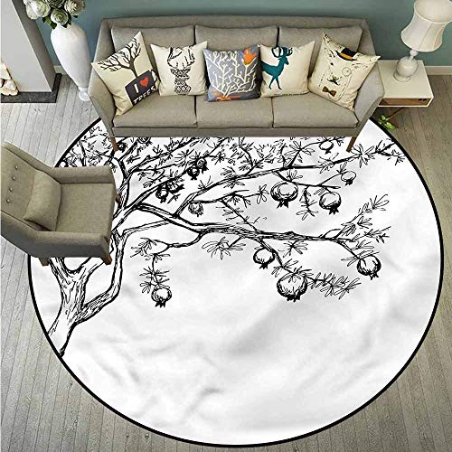 Bedroom Round Rugs,Tree,Blossoming Pomegranate Tree,with No-Slip Backing,5'3