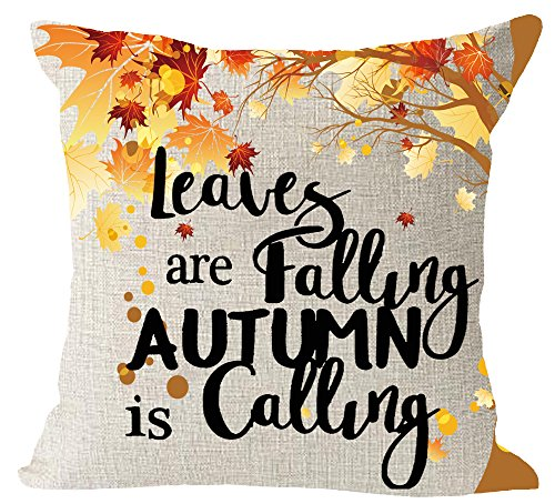 Happy fall yall Leaves Falling Autumn Is Calling Maple Leaves Cotton Linen Square Throw Waist Pillow Case Decorative Cushion Cover Pillowcase Sofa 18x 18