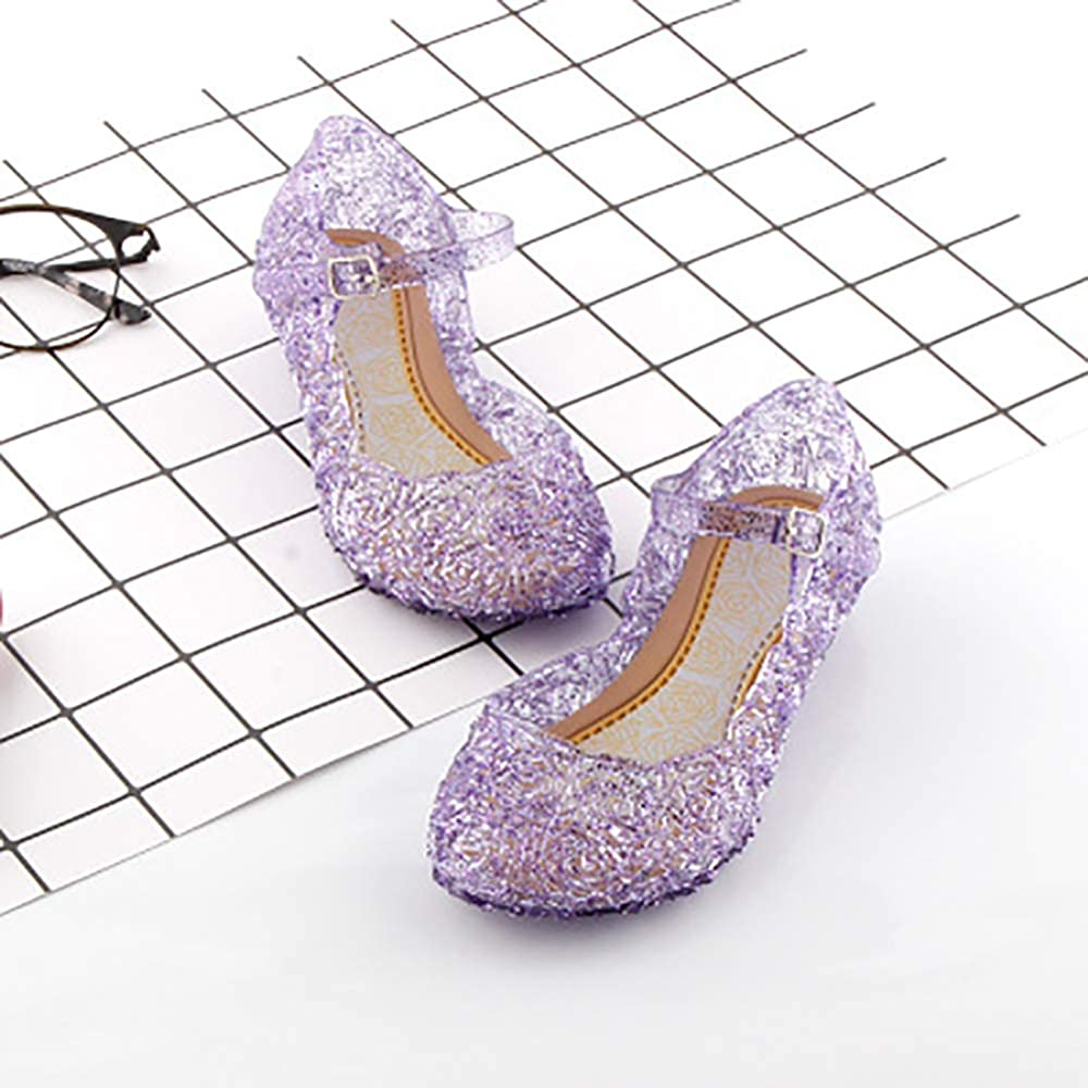 CQDY Blue Girl/'s Princess Shoes Jelly Sandals Cinderella Toddler Cosplay Dancing Show Mary Janes Toddler//Little Kid